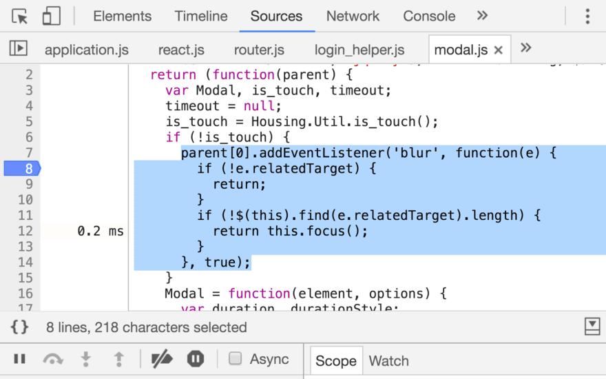 Chrome DevTools Source Panel Screenshot
