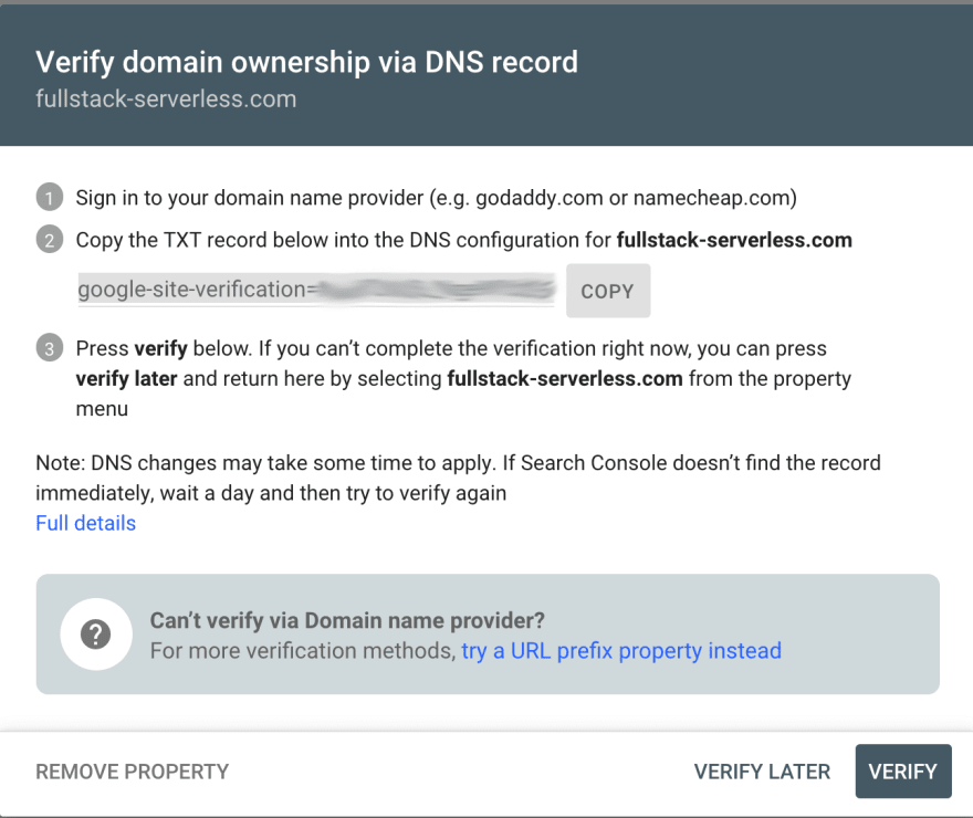 Google Search Console verify domain screen.
