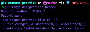 terminal screenshot of git merge new-practice-branch command