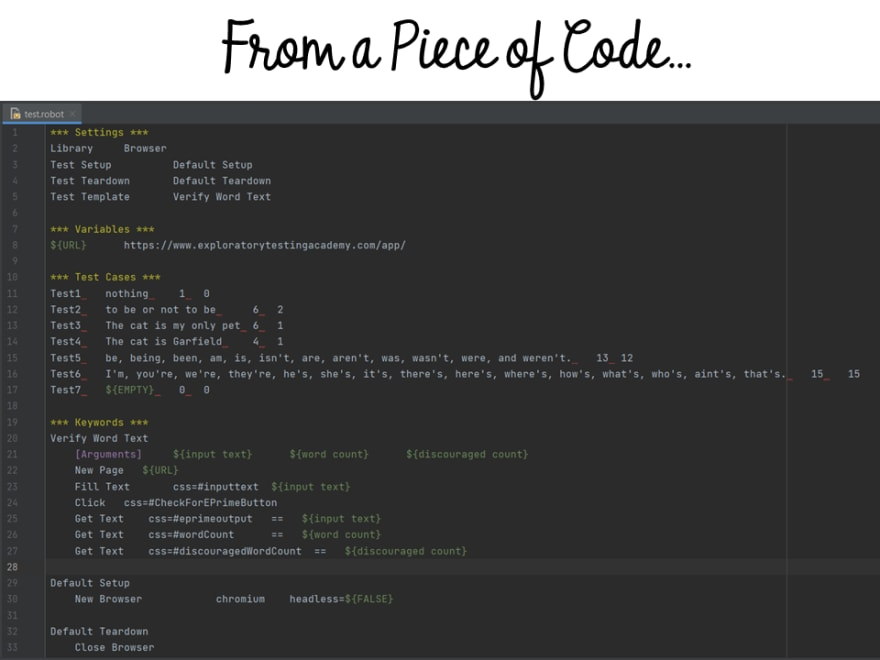 Exploring to create test code
