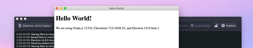 Screenshot: Electron App running