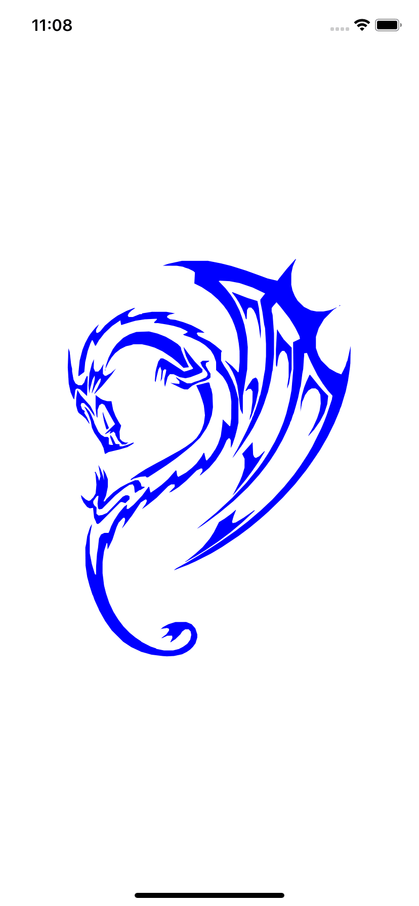 Simulator running our app with our dragon svg file filled with blue