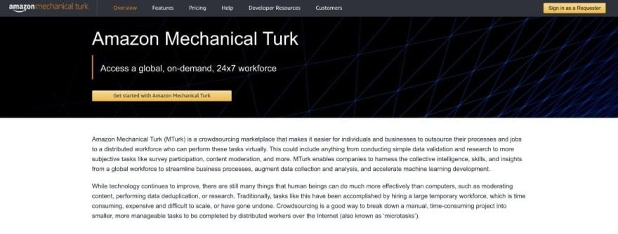 Amazon Mechanical Turk website