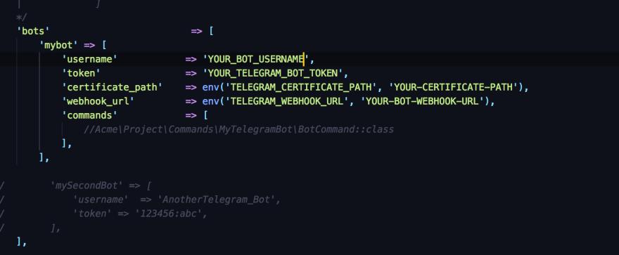 config/telegram.php configuration file