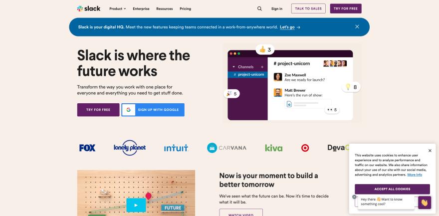Slack website section