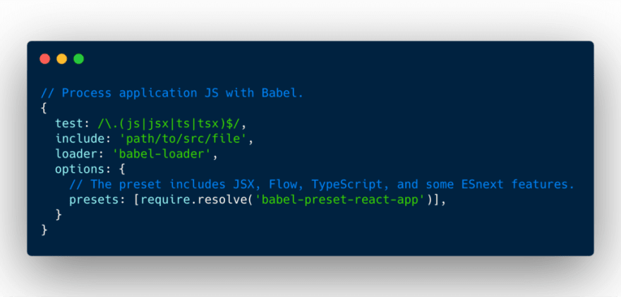 Babel loader configuration with react presets
