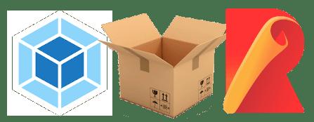 Webpack, Parcel, Rollup logos