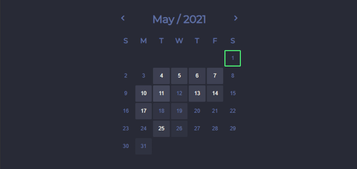 Calendar with stats