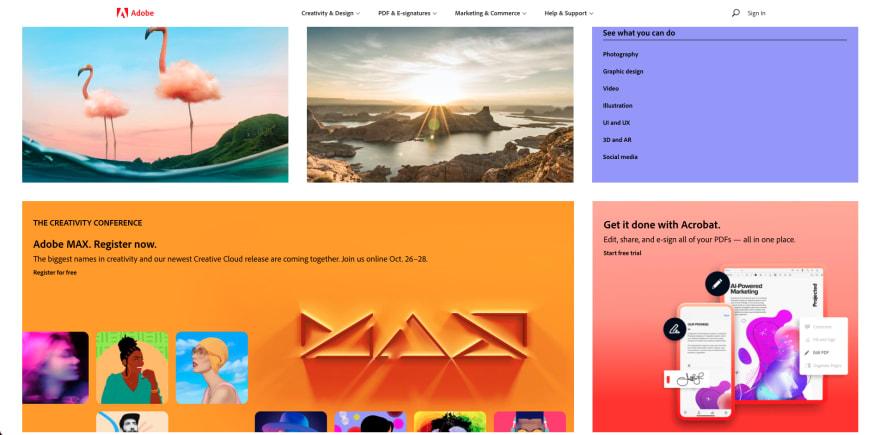 Adobe website section