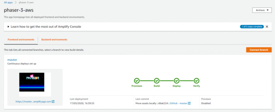AWS amplify deployment completed view