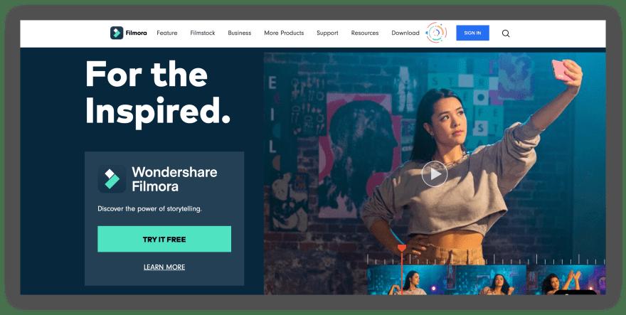 Wondershare Filmora Landing Page