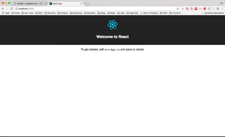 The default page when you first boot up your new React app.