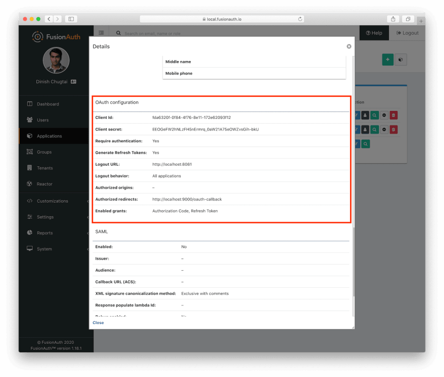 Client Id and Client Secret settings for the application.