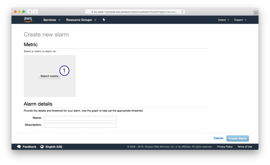 Step 1: Creating CloudWatch Alarm monitoring Network Utilization