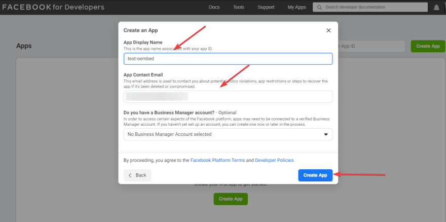 Create a new app to fix oEmbed issue