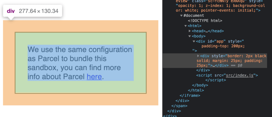 Screenshot example showing a div with margin, border, and padding.