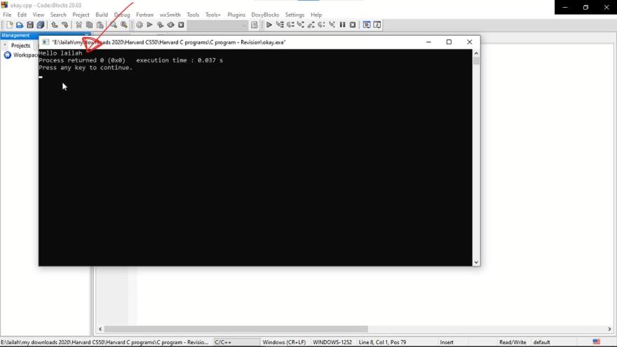 program is displayed
