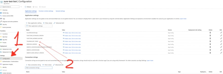 Application Settings in Azure