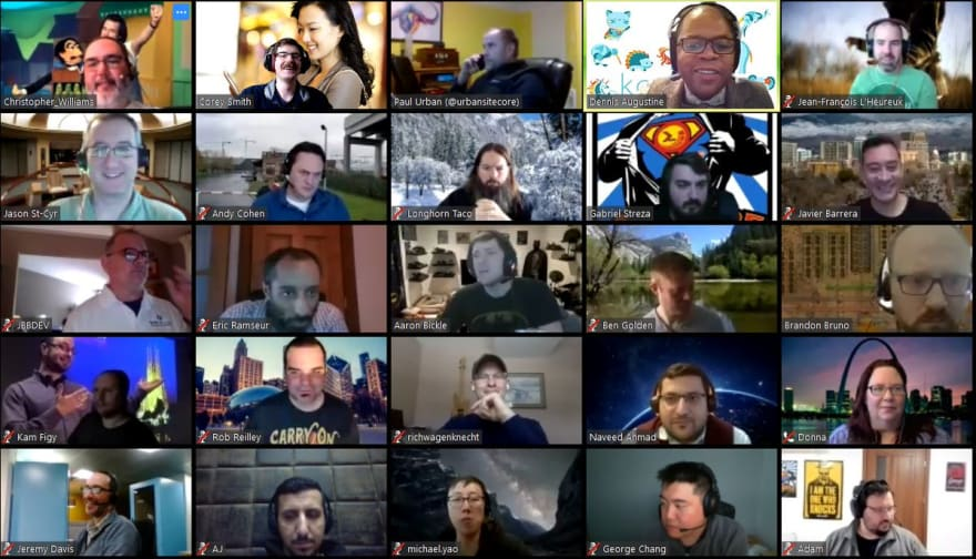 Tiled view of 25 faces in a video conference call