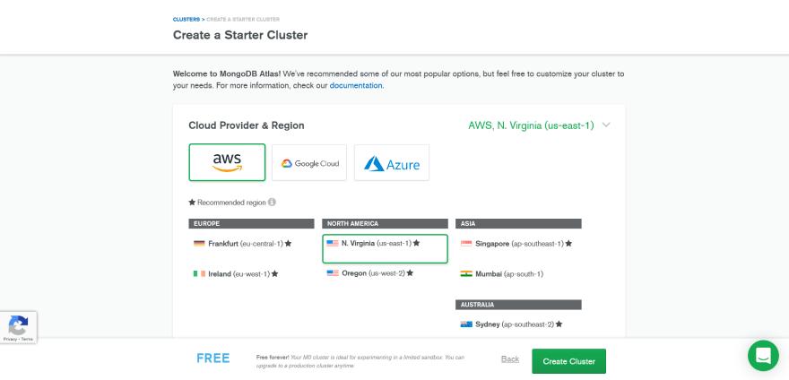MongoDB Atlas create cluster page