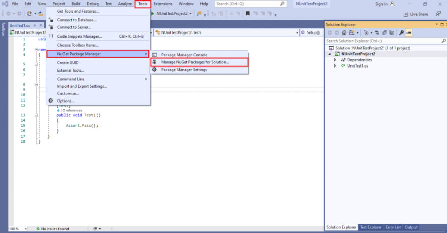 Manager NuGet Packages for Solution