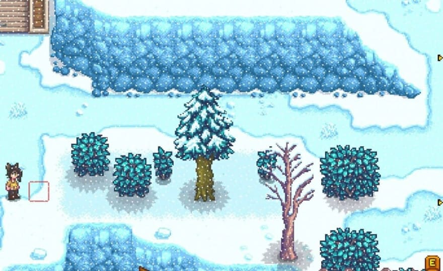 A screencap from Stardew Valley, with directional arrows to the right of the screen