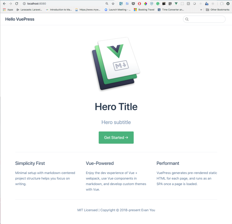 Up and running with VuePress