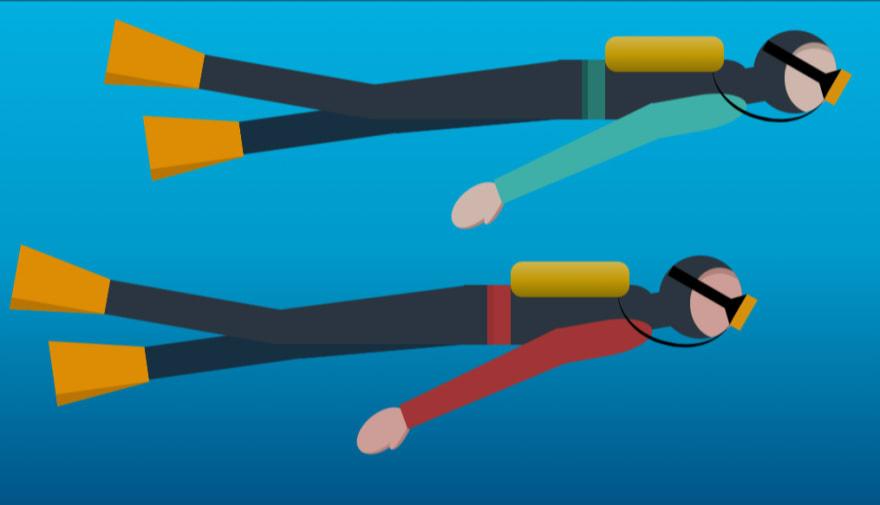 Scuba divers CSS illustration