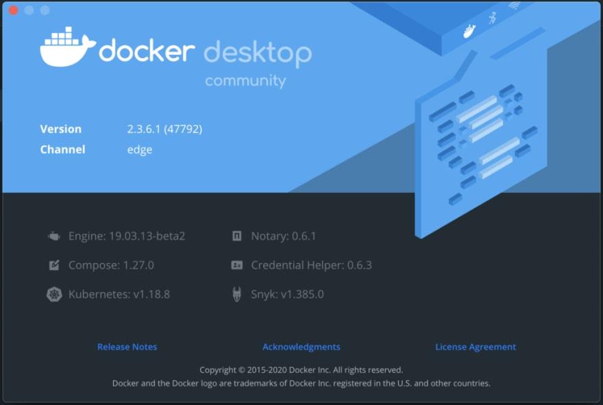 Figura 2 - Dettagli sulla versione di Docker Desktop Edge