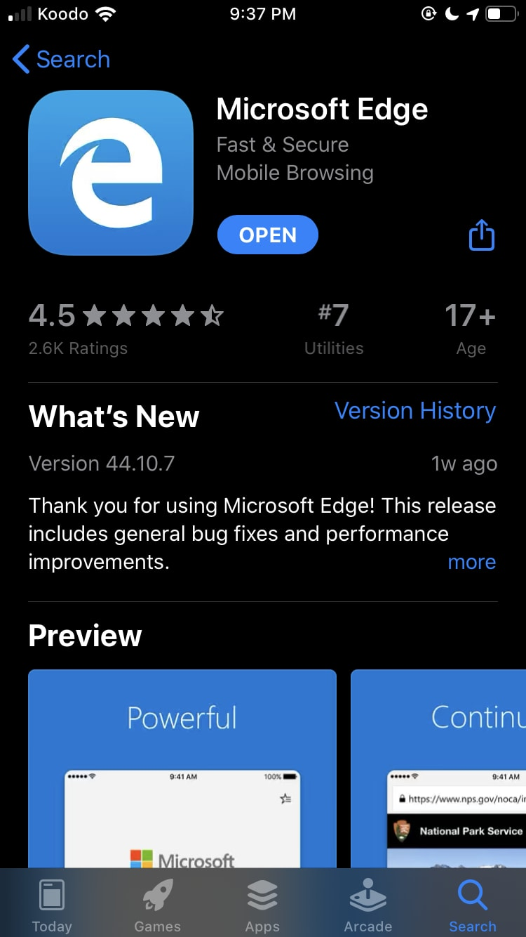 Install MS Edge for iOS