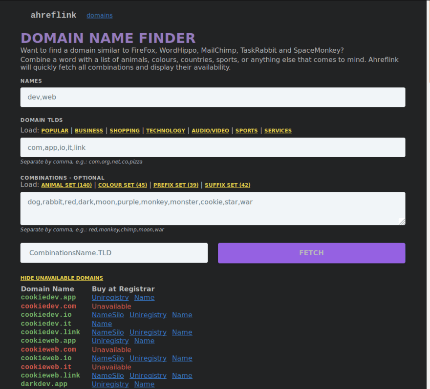 picture preview of domain name finder