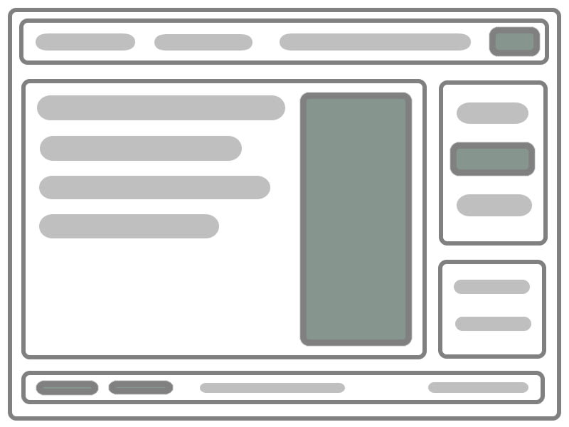 A page wireframe with dim highlights of areas of interactivity