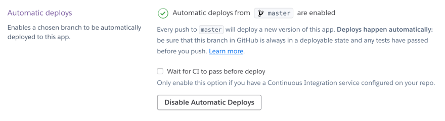 Automatic Deploys Enabled