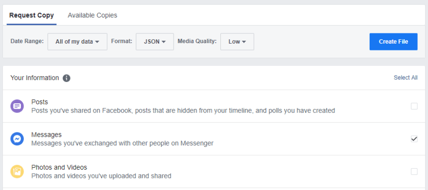 Facebook data download page