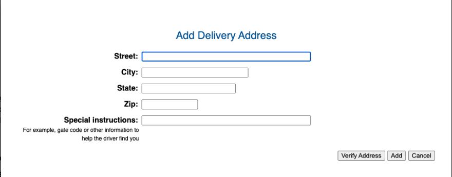 Exemplo de uma modal, contendo um formulário de Endereço de entrega.