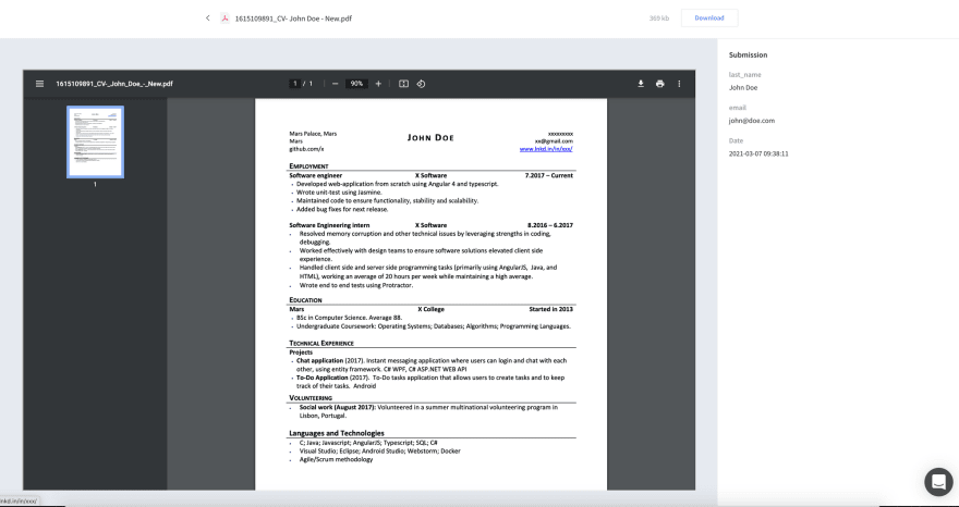 Getform's File Preview Feature