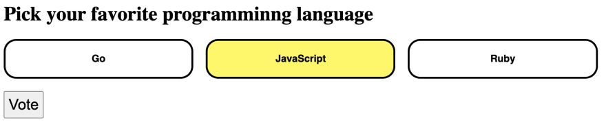 The webpage with three buttons for selecting your favorite programming language. JavaScript is selected and highlighted in yellow.