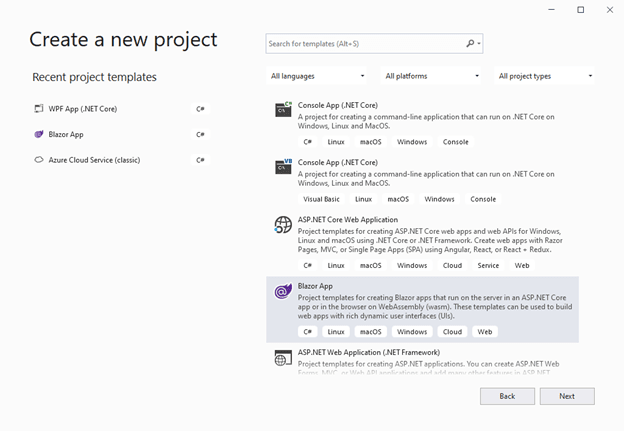 Open Visual Studio 2019 and create a new project