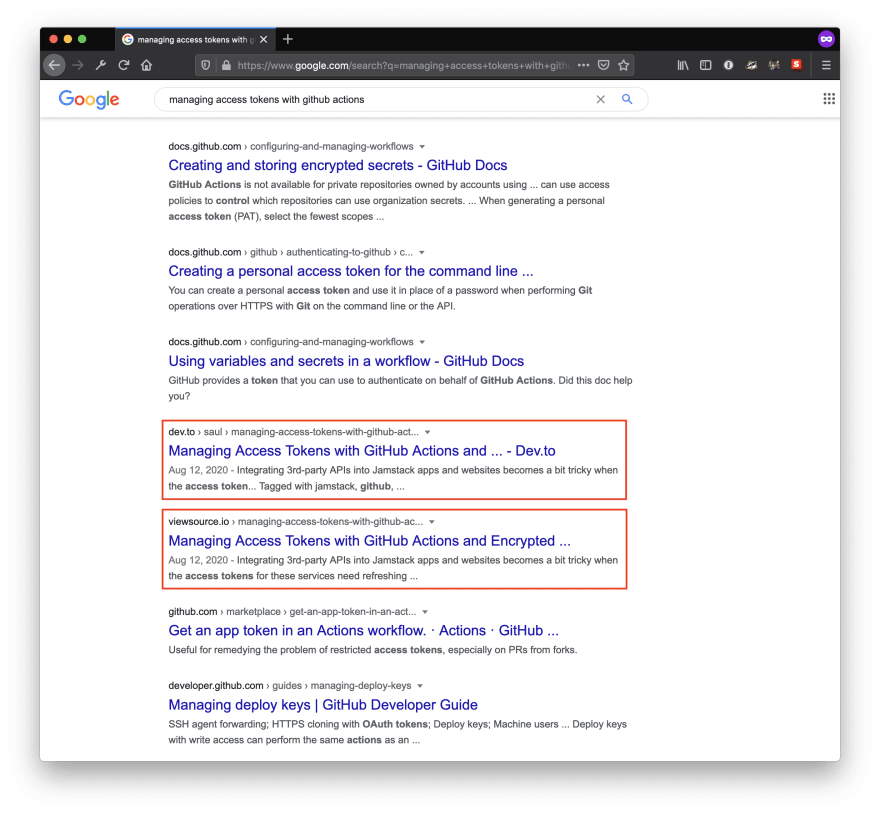 A screenshot of Google search results showing both the DEV article and the original article