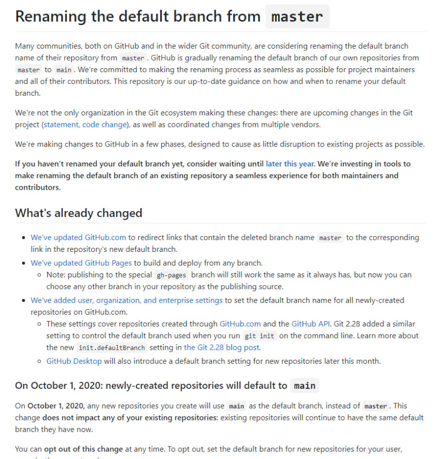 Github message on the Main branch