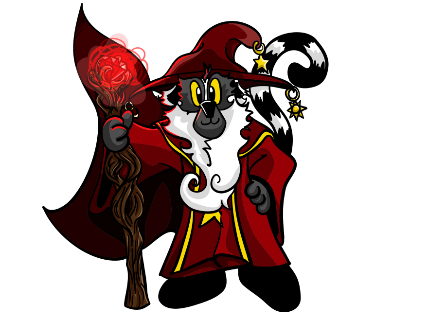 Red the Lemur dressed as a hero with a cape and a staff