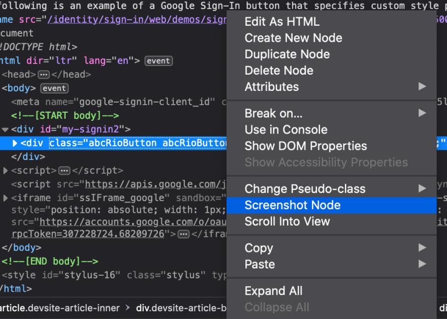 Screenshot Node option in Firefox Developer