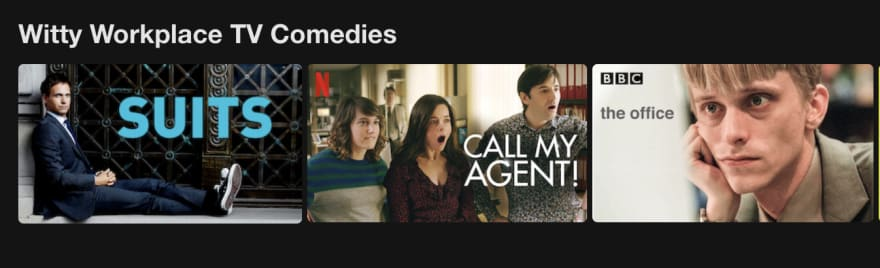 Netflix section titled: Witty Workplace comedies