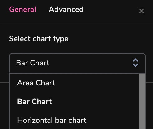 arctype chart types menu