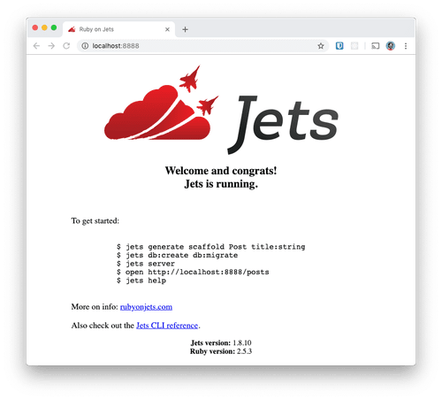 The Jets welcome page open in a browser.