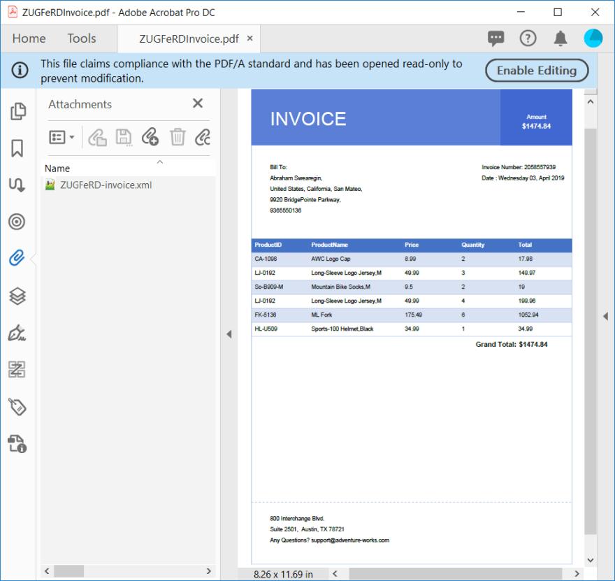 ZUGFeRD PDF Invoice