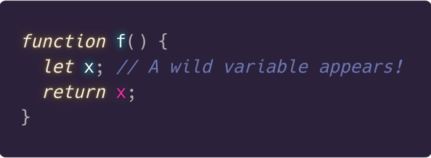 Let introduces a variable