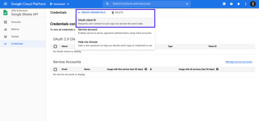 Create OAuth credentials for the Google Sheets API