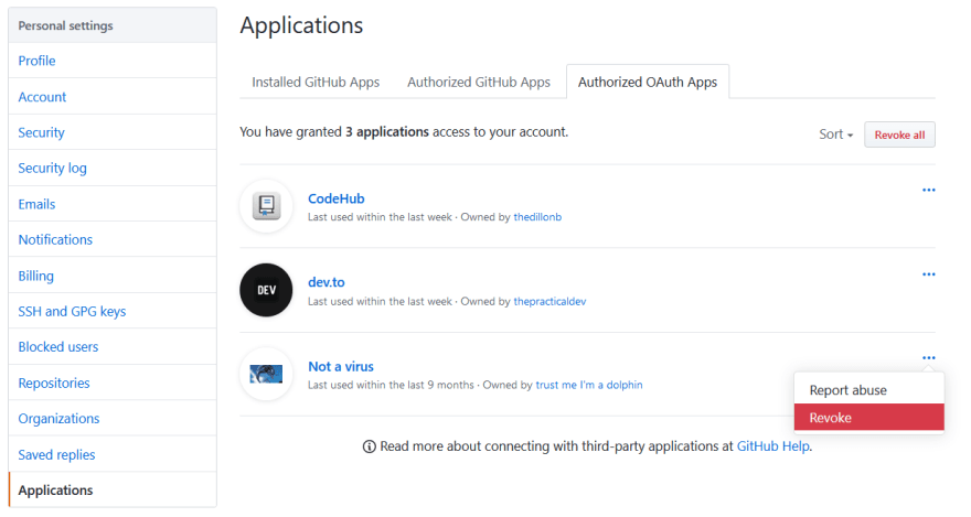 Screenshot showing a list of authorized apps