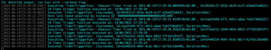 Azure Function logs